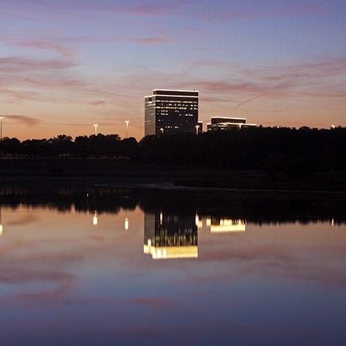 View Of The Schaumburg, Illinois Skyline At Sunset